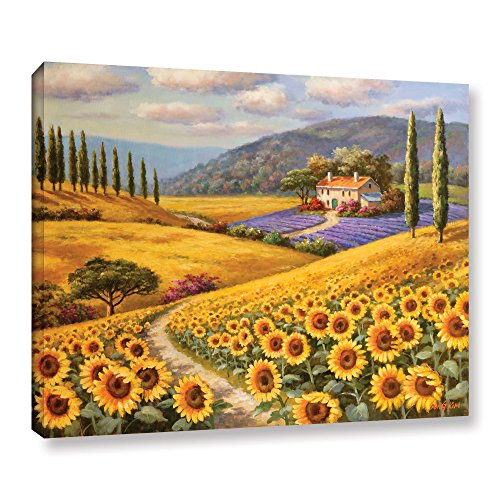 Sung Kim ''Tuscany Sunflowers'' Gallery Wrapped Floater-framed Canvas, 24X32