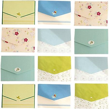(moin moin) メッセージ カード 封筒 型 ミニレター モダン カラフル ストライプ ドット 花柄 フラワー ライン シック 柄 (6柄×各2つ 計12つセット)