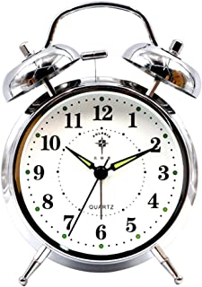 YJT.zb Metal Double Bell Alarm Clock, Classic Strong Analog Alarm Clock with Night Light, Backlight Travel Clock for Heav...