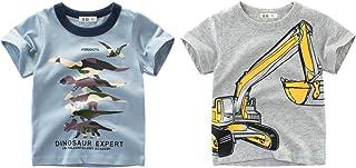 2-PackT Shirts Tee Tops Short-Sleeve Kids Tees Set for 1-7T Baby Boys Cartoon Blouse Dinosaur Excavator 5-6X