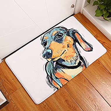 YJBear Thin Long Ear Puppy Dog Pattern Floor Mat Coral Fleece Home Decor Carpet Indoor Rectangle Doormat Kitchen Floor Runner 16  X 24