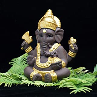 TULLE HOT- Ganesha - Ganesha cerámica India Elefante Dios Buda estatuas monje Arena púrpura decoración del hogar estatuillas Decoración - - 1 PCs