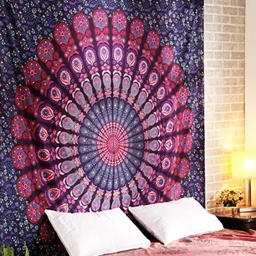 ele ELEOPTION Wandteppich Indian Mandala Wall Hanging Hippie Tapestry Wanddeko für Kinderzimmer Wohnzimmer Schlafzimmer auch als Yogamatte Picknickdecke Strandtücher (Lila und Rot, 150 x 205cm)