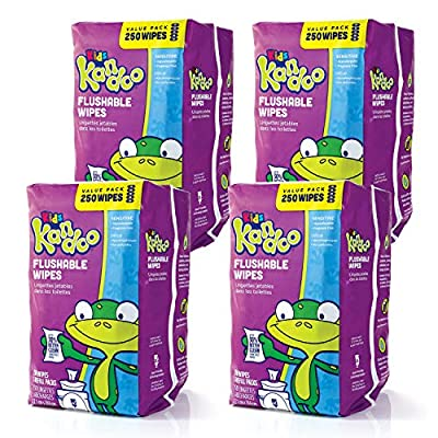 Flushable Wipes for Baby and Kids by Kandoo, Unscented for Sensitive Skin, Hypoallergenic Potty Training Wet Cleansing Cloths, 250 Count, Pack of 4 from Kandoo