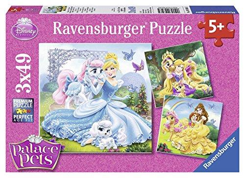 Ravensburger Kinderpuzzle 09346 - Palace Pets - Belle, Cinderella und Rapunzel - 3 x 49 Teile