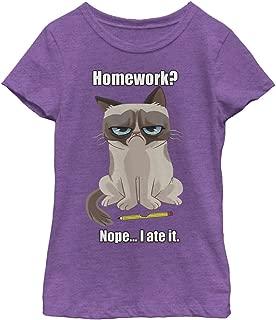 Grumpy Cat Girls' My Pet Ate My Homework T-Shirt