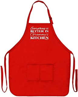 ThisWear Everything is Better in Grammy's Kitchen Funny Apron Cooking Baking Crafting Gardening Two Pocket Apron Grandma Mom Red