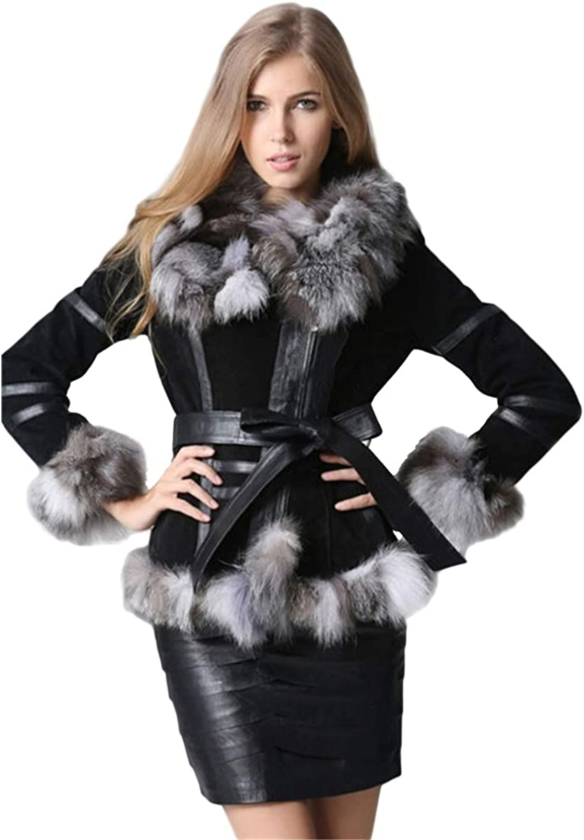 Trust KAISHIN Winter Max 61% OFF Real Fur Coats Jac Leather Waistband with Genuine
