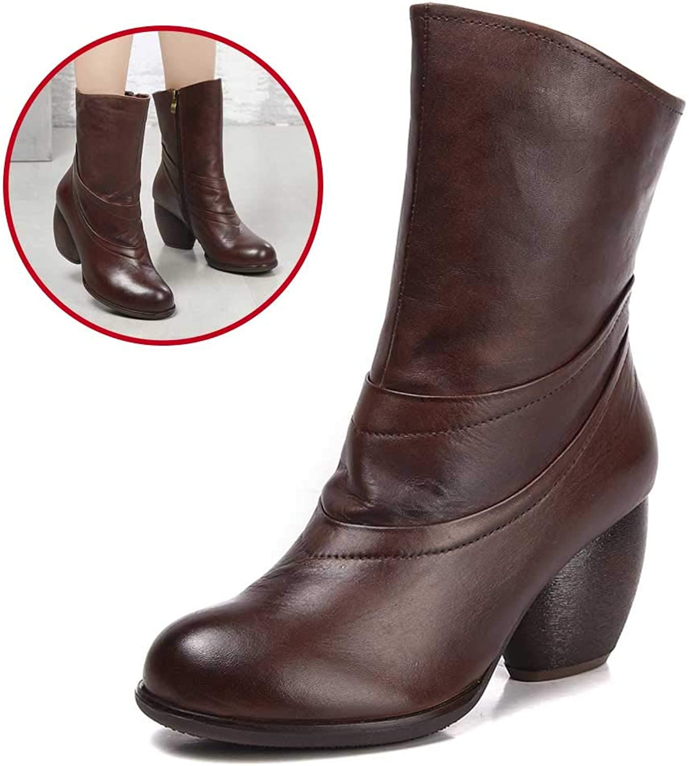 Women's Martin Boots, Leather high Heel Ankle Boots, Leather Non-Slip Platform Women's shoes Greib   Brown Size 35-39