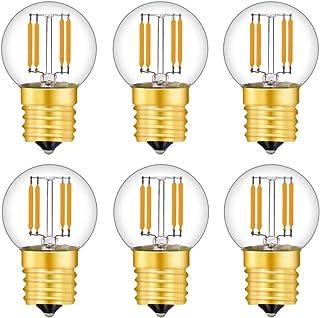 2W LED電球 E17口金 20W形相当 電球色 G40 フィラメント電球 全方向 シャンデリア用 エジソン電球 クリア電球 密閉形器具対応 6個入