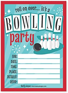 25 Bowling Birthday Party Invitations, Roll On Over Themed Kids Invite Supplies, Boys Girls Retro Traditional Ten Pin Style Bday Ideas, Vintage Alley Coed Style Printed or Fill in The Blank Card