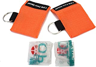 Refaxi 2X CPR Face Shield First Aid Rescue Resuscitator Pocket Mask Emergency Key Chain Ring (Orange)