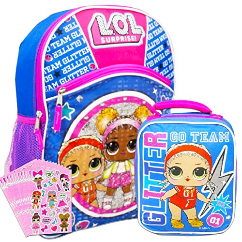 LOL Dolls Backpack and Lunch Box for Girls Bundle ~ Deluxe 16' L.O.L Backpack, Insulated Lunch Bag, and Over 300 LOL Stickers (LOL Dolls School Supplies)