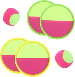 AM ANNA 2 Sets Paddle Catch Ball and Toss Game Velcro Catch Ball Set for Sport Paddle Game Interactive Parent Child Ball T...