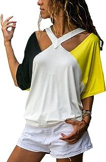 Color Block Short Sleeve T-Shirt Women Cut Out Halter Patchwork Tees Summer Tops