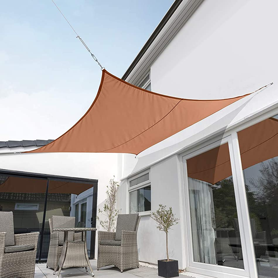 強風加害者気をつけてクッカバラ日除けシェードセイル 赤褐色 3x3m正方形 紫外線98%カット 防水タイプ OL0107SSS
