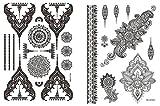 Mandala MS06014 - Juego de 2 pulseras con diseño de mandala, tatuaje oriental para pegar en cuerpo y mano
