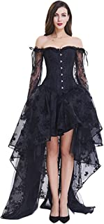 Kimring Women's Steampunk Victorian Off Shoulder Corset Top with High Low Skirt