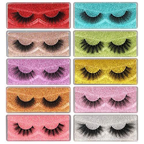 ALICE Eyelashes False Lashes 3D Fluffy Fake Eyelashes Natural 10 Pairs Long Dramatic Faux Mink Lashes Multipack with 10 Portable Eye Lashes Boxes