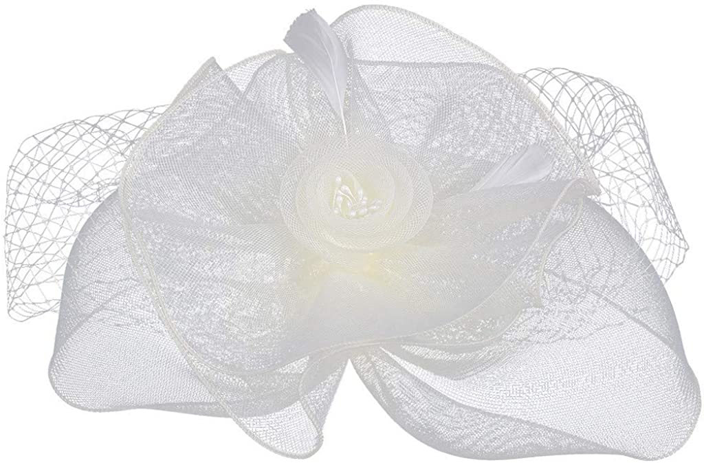 Sayhi Women's Fascinators Hat Veil Cover Bride Hat Pillbox Hat Cocktail Party Hat Bowknot Hairclip for Girls