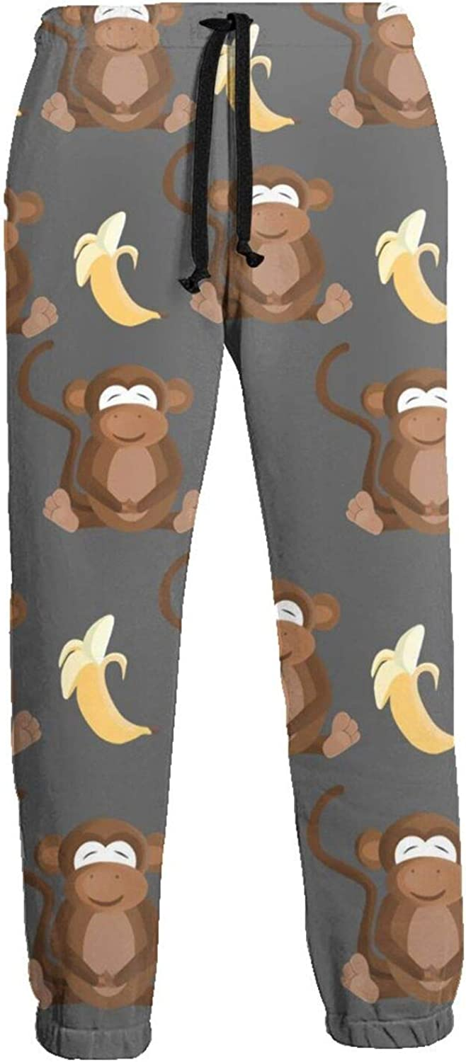 Cey99P-A Mens Monkey Banana Gray Factory outlet Jogger Sweatpants Background C Charlotte Mall