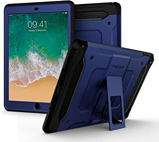Spigen Tough Armor TECH with Custom-Fit Tempered Glass Designed for iPad 9.7 Case iPad Case (2017/2018) - Blue