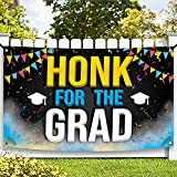 XtraLarge Honk For The Grad Graduation Banner - Graduation Decorations 2021 Blue and Gold   Honk Congrats Grad for Class of 2021 Decorations   Class of 2021 Banner for Graduation Car Decorations 2021