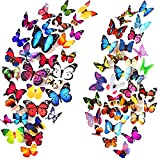 Heansun 80 PCS Butterfly Wall Decals, 3D Butterflies Removable Mural Stickers Wall Stickers Art Decal for Home Decorations Kids Room Bedroom Nursery Decor