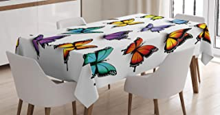 Ambesonne Butterfly Tablecloth, Colorful Moth Wings Animal Spring Inspirational Design, Rectangular Table Cover for Dining Room Kitchen Decor, 60