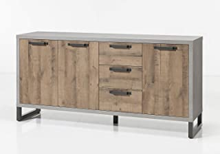 Muebletmoi - Aparador aparador de 3 puertas y 3 cajones de madera marrón y gris – Diseño industrial Factory – Colección Br...