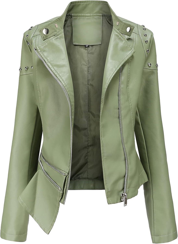 Women Zipper Motorcycle Plus Size Biker Jacket Short Coat Outwear Faux Leather Casual Jacket Long Sleeve Stand Collar Coat