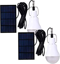 Solar Powered Lamp Portable Led Bulb Lights Solar Energy Panel Led Lighting for Camp Tent Night 130LM Pack of 2