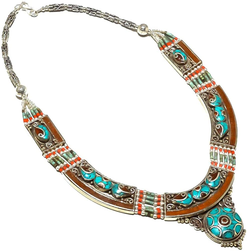 NEPALI WORK Blue TURQUOISE and Red 18