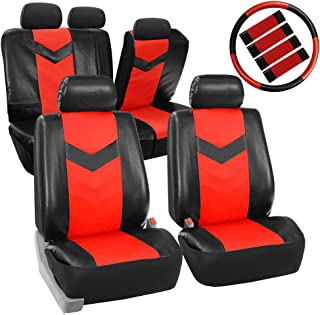 FH Group PU021RED-COMBO Seat Cover (Premium Synthetic Leather with Accessories Combo Set Airbag Compatible Red)
