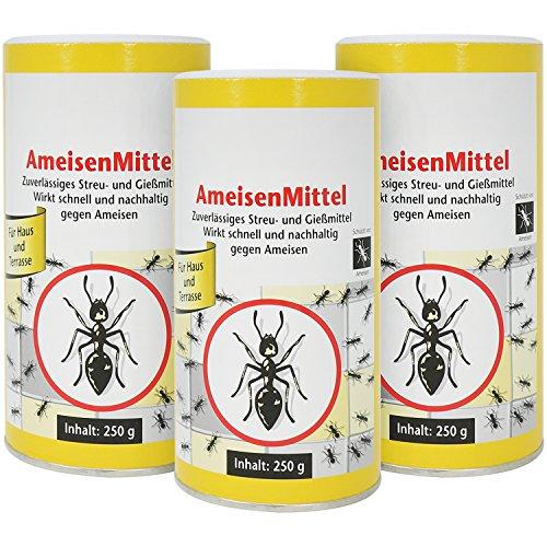 com-four® 3X Ameisenmittel mit Köder je 250g, Streu- und Gießmittel Ameisengift, 750g (03 Stück - Ameisenmittel)