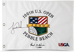Tiger Woods Autographed & Embroidered 2000 U.S. Open Pin Flag, UDA - L500