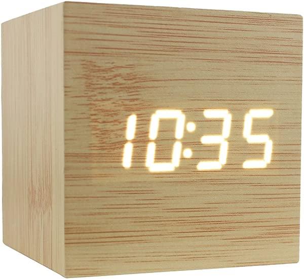 Dianoo Cube 棕色木质红色 Led 闹钟时间温度日期声控竹木红光