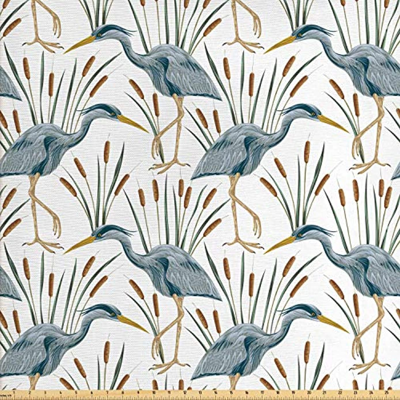 Lunarable Swamp Fabric by The Yard, Blue Grey Heron Birds and Bulrush Water Foliage Growth Wilderness Tropical Lands, Decorative Fabric for Upholstery and Home Accents, 3 Yards, Multicolor