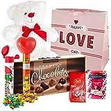 Valentines Day Gift Basket Set | 12 Inch Teddy Bear Plush, Lindor Milk Truffles, Hershey Reeses Pieces, Ghirardelli Strawberry, Elmer Sampler Chocolate, M&M Minis Tube & V-Day Gift Bag (White)