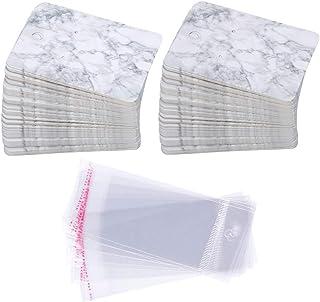 Set med örhängeskort, 100 st displaykort i papper med 100 st självförslutande påsar. Moderiktiga korthållare för organiser...