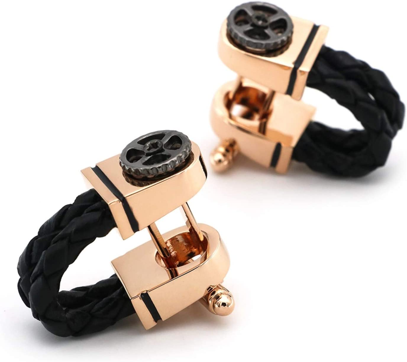 GTHT Men for Cufflinks,Men's Cufflinks Rose Gold Plating Black Leather Chain Design with Gear Quality Business Cuff Links