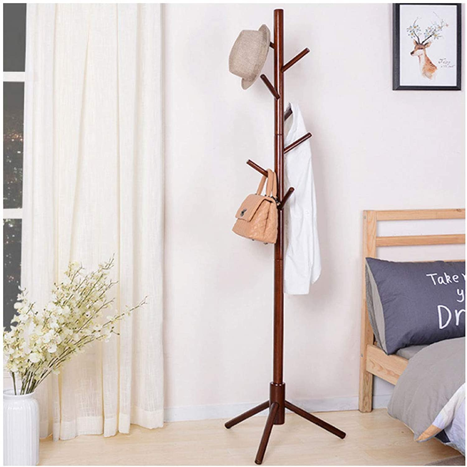 Coat Rack greenical Coat Rack Floor Stand Modern Hanger Creative Solid Wood Bedroom Living Room Simple Save Space (color   Red Wine, Size   43X43X175cm)