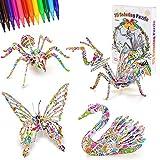 Rompecabezas para Colorear 3D, DIY Arts Crafts Puzzle Kit Regalo de Juguete para Niñas Niños, Juguetes Kit de Colorear, Regalo Navidad de cumpleaño (Insectos(Mariposa, Araña, Mantis Religiosa, Cisne))