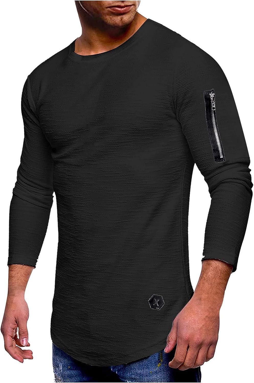 Men's Crewneck Long Sleeve T-Shirts Slim Fit Pullover Long-Sleeved Cotton Sweatshirt Underwear Elastic Plain Shirts
