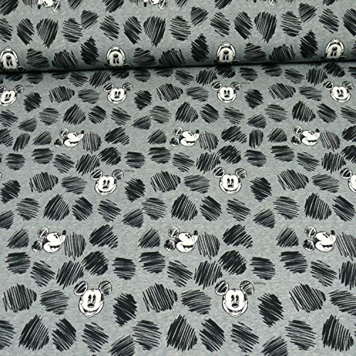 Disney Jersey Micky Maus, Öko-Tex Standard 100, Kopf, grau (50cm x 160cm)