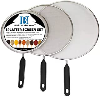Grease Splatter Screen For Frying Pan Cooking – Stainless Steel Splatter Guard Set..