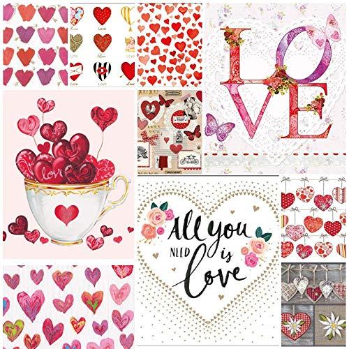 Confezione da 20 tovaglioli per decoupage – 3 strati, 33 x 33 cm – (2 tovaglioli ciascuno di 10 diversi disegni) – Love Collection