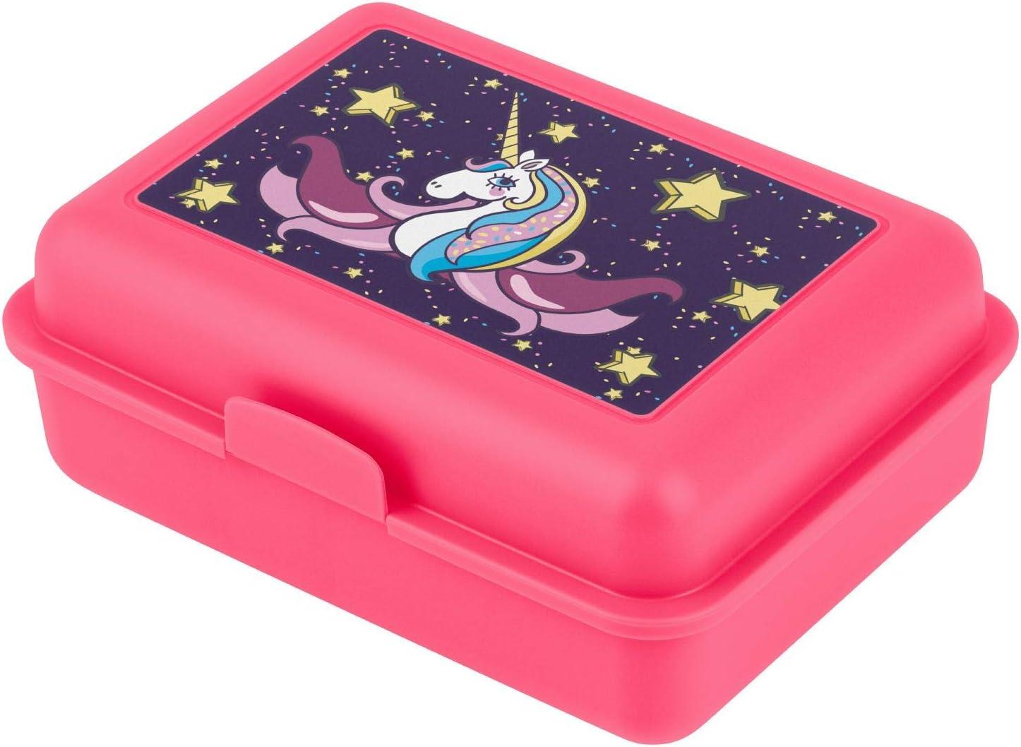 baagl Fiambrera para niños con compartimentos, fiambrera con divisor, para la escuela y la guardería, fiambrera con división para niñas (unicornio)