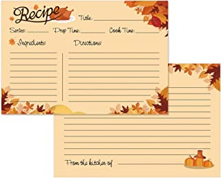 SICOHOME 4x6 Recipe Cards,Set of 50,Double-Sided, Fall Recipe Cards