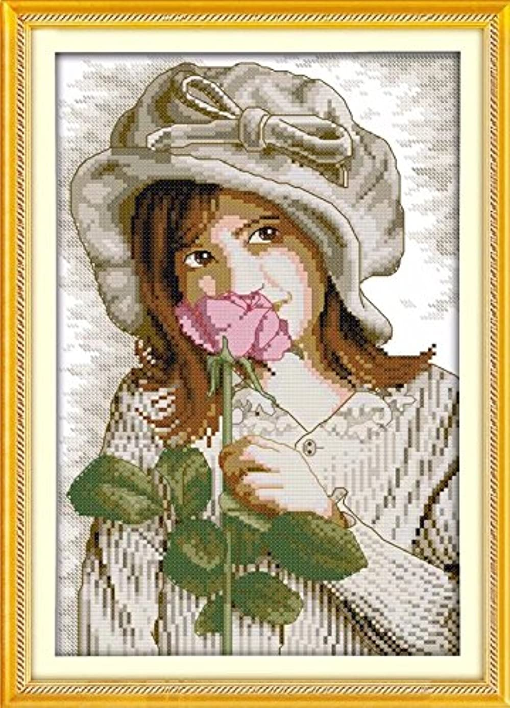 Joy Sunday Cross Stitch Kit 14CT Stamped Embroidery Kits Precise Printed Needlework - A Girl who Smells Flowers 26×35CM